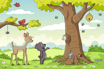 Wall Mural - Cute animals in the forest. Vector illustration with separate layers.