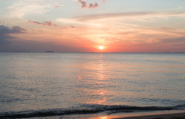 Poster Crimson Sea pink sunset. Beautiful color clouds.
