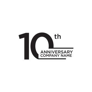 10th year anniversary icon logo design template