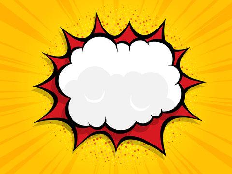 blank boom speech bubble comic book, pop art with halftone