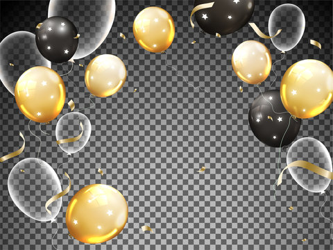 Shiny Balloons with Golden Confetti Decorated on Black Transparent Background.