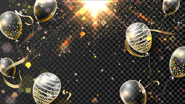 Golden Glowing Light Effect Black Transparent Background Decorated with Balloons.