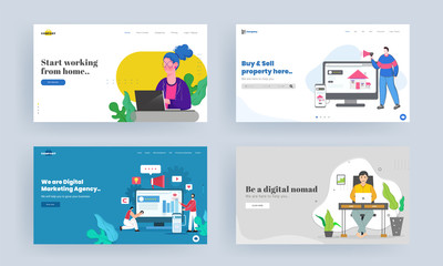 Set of Landing page design for Start working from home, Buy & Sell property, Be a digital nomad, Digital marketing agency concept. Wall mural
