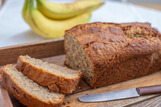 Healthy banana bread or cake for breakfast