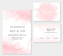 Stylish dusty pink and gold geometric vector design cards.