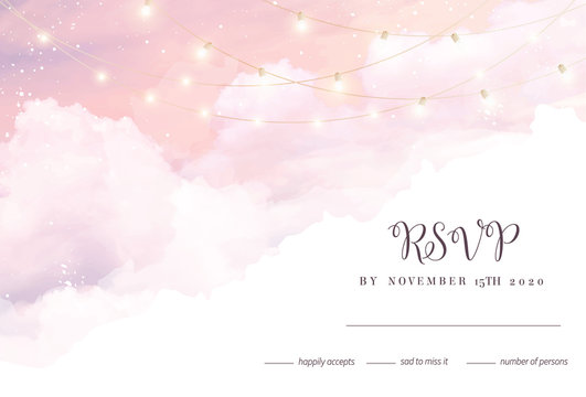 Sugar cotton pink clouds vector design background.