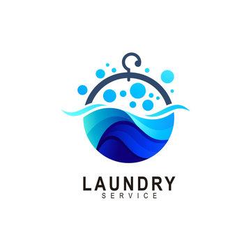 Laundry Logo Template Design Vector, Emblem, Concept Design, Creative Symbol, soap bubble icon