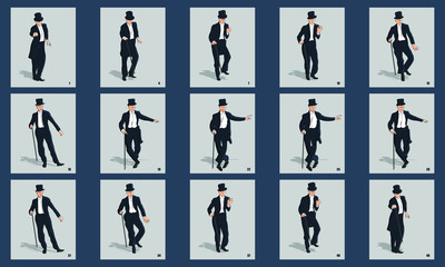 Gentleman Dancing animation sprite sheet vector illustration.. Can be used for GIF animation. Loop animation vector.