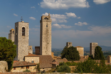 View to medieval towers of San Gimignano old town, Italy