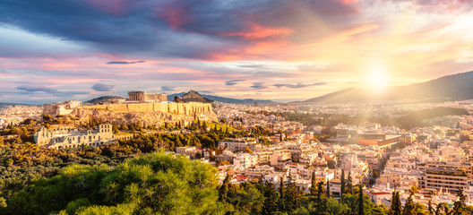 Zelfklevend Fotobehang Athene Panoramic View over Athens by Sunrise