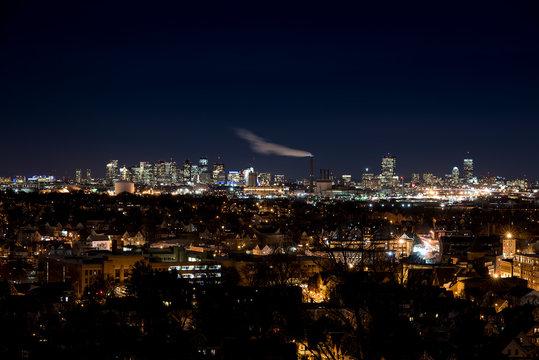 Boston City Skyline from Malden at Night