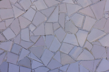 Wall Mural - Light purple ceramic tile pattern broken glass mosaic decoration in Park Guell, Barcelona, Spain. Designed by Gaudi