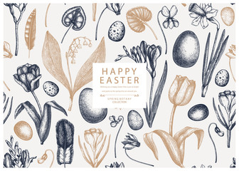 Easter seamless pattern. With spring flowers, bird feathers, eggs and floral elements. Hand drawn botanical illustrations. Spring plants sketches. Vector Easter invitation or greeting card template. Fotomurales