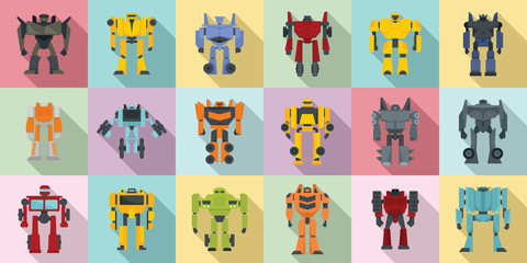 Robot-transformer icons set. Flat set of robot-transformer vector icons for web design