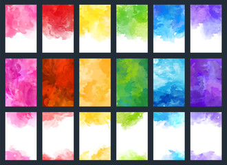 Big set of bright vector colorful watercolor background for poster, brochure, card or flyer