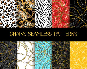 Chains Patterns Collection. Vector Chain Seamless Patterns with Zebra and Tiger Animal Print Mixed with Damask Ornaments and Jewellery. Fashion Fabrics Textile Printable Bandana Scarf Designs Set