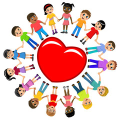 Group of multicultural kids hand in hand around big heart isolated on white