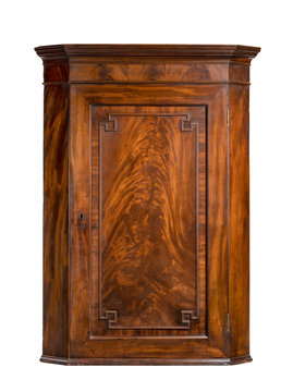 Antique mahogany hanging wall corner cupboard open isolated on white