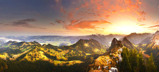 Autumn mountains before sunrise in Switzerland