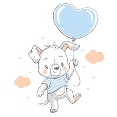 Vector hand drawn illustration of a cute dog floating with a blue balloon.