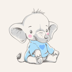 Vector hand drawn illustration of a cute baby elephant in a blue t-shirt.