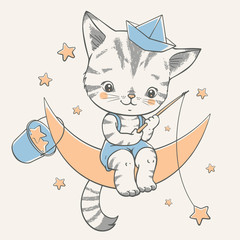 Vector illustration of a cute kitten, sitting on the moon and catching stars.