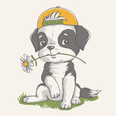 Vector illustration of a cute puppy with a camomile in his mouth.