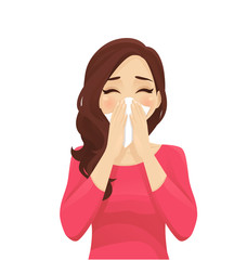 Sad beautiful woman blowing nose into tissue, sneezing. Isolated vector illustration.