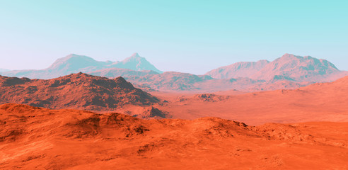 Photo sur Aluminium Brique Mars landscape, 3d render of imaginary mars planet terrain