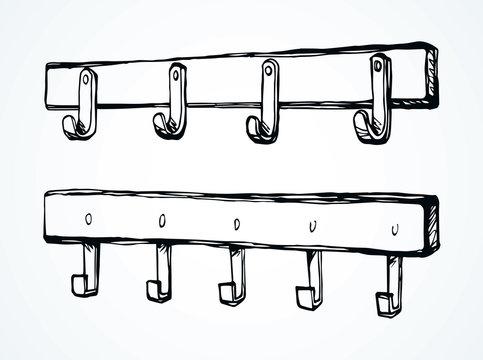 Wall hook. Vector drawing
