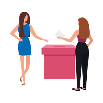 business women with ballot box isolated icon vector illustration design