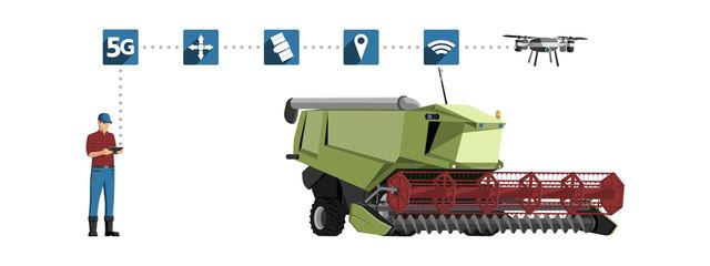 Etiqueta Engomada - 5G network for control autonomous agriculture machines. Smart farming 4.0. Vector illustration