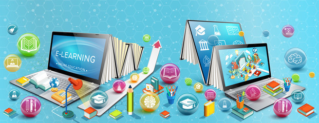 Two laptops like books. The concept of learning. Online education. Vector Illustration