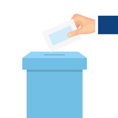 hand with ballot box carton isolated icon vector illustration design