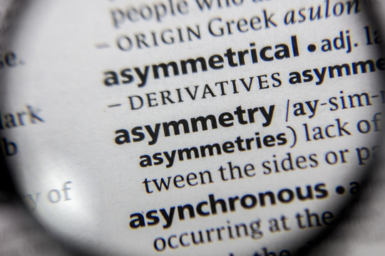 The word or phrase asymmetry in a dictionary.