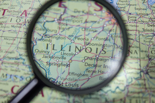 American state Illinois on the map of the world.