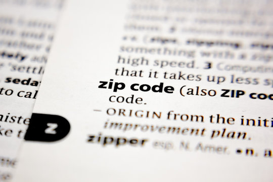 Word or phrase zip code in a dictionary.