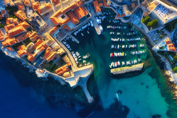 Dubrovnik, Croatia. Aerial view on the old town. Vacation and adventure. Town and sea. Top view from drone at on the old castle and azure sea. Travel - image