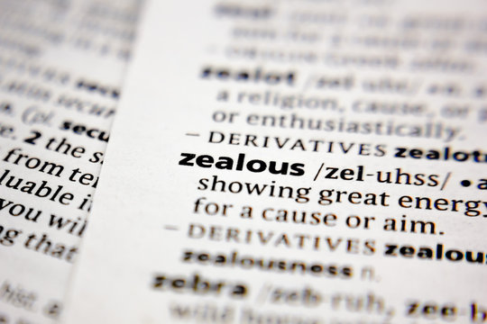 Word or phrase zealous in a dictionary.