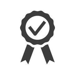 Certified medal icon on white background.