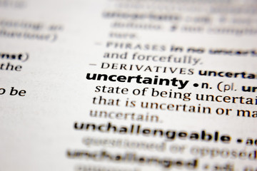 Word or phrase uncertainty in a dictionary.