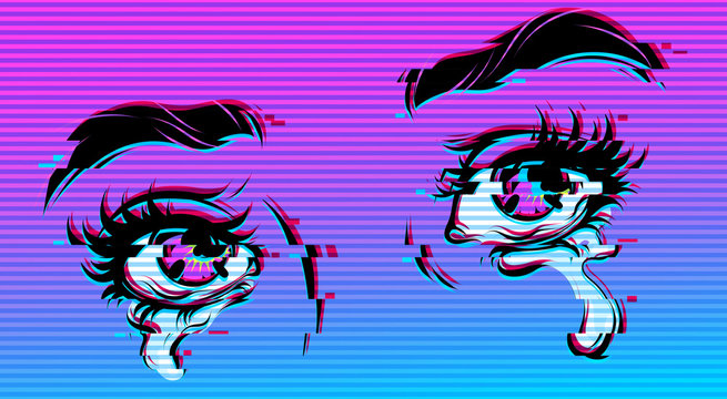 Vector comic illustration of crying eyes. Digital glitch effect. Cyberpunk style.