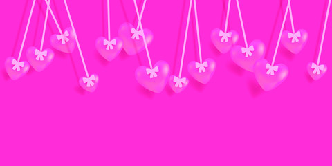 Valentine's Day greeting card with hanging pink hearts