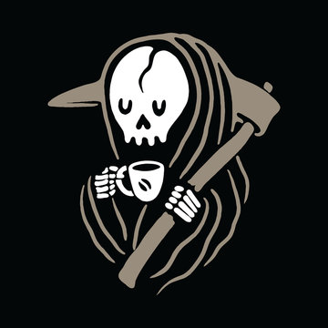 Skull Grim Reaper Love Drink Coffee Graphic Illustration Vector Art T-shirt Design
