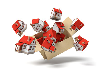 3d rendering of cardboard box flying in air full of small detached houses which are flying out from it.