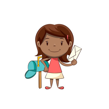 Little girl holding letter, mailbox correspondence