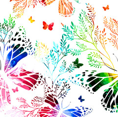 Foto op Aluminium Vlinders in Grunge Abstraction summer. Flowers with butterflies. colorful background. Vector illustration