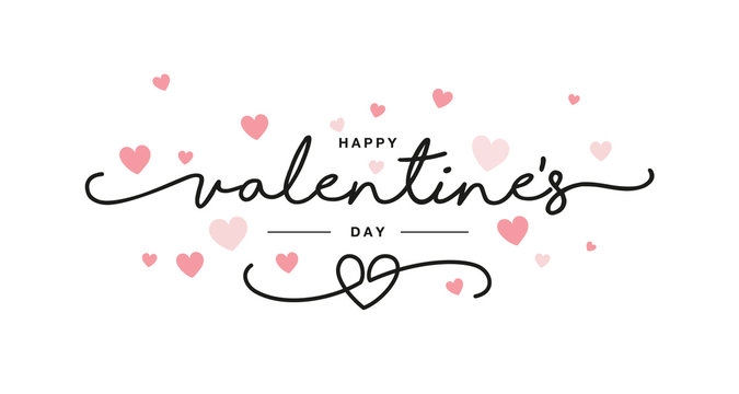 Valentines Day black handwritten typography with pink hearts isolated white background