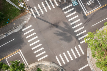 aerial view of street intersection