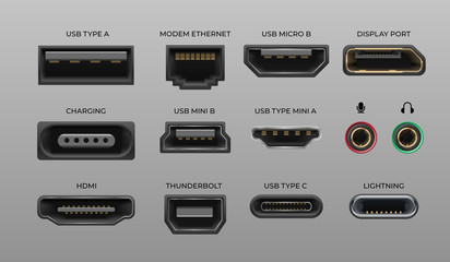 Connector and ports. USB type A and type C, video ports hand drawnMI DVI and Displayport, audio coaxial, thunderbolt and lightning vector ports, universal elements pc connectors Fotomurales